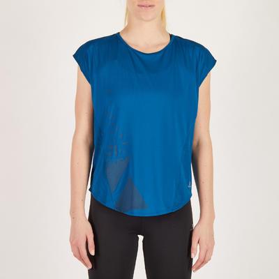db42c11d931f6 T-shirt loose fitness cardio femme bleu avec imprimés 120 Domyos ...