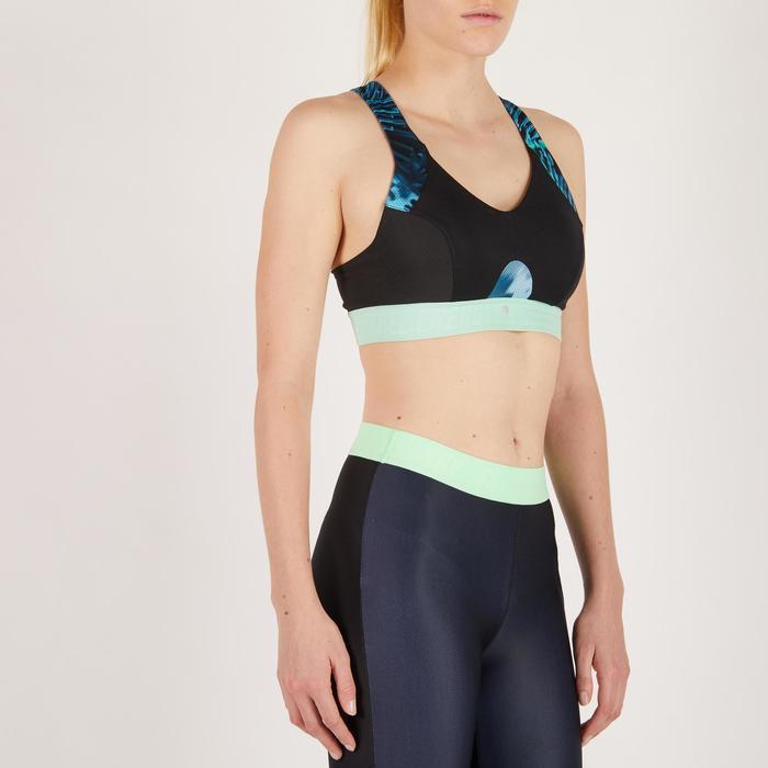 Sportbeha 500 voor cardiofitness zwart met tropical print Domyos