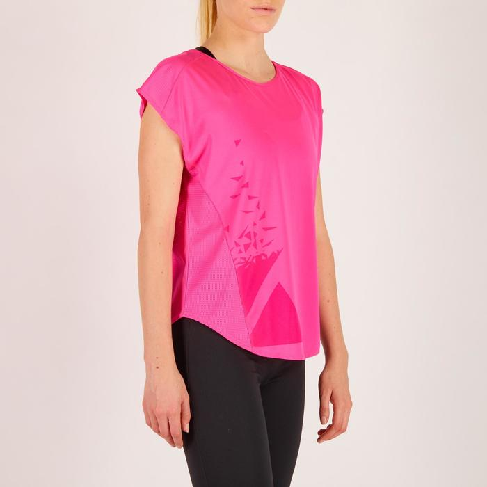 Cardiofitness T-shirt 120 voor dames, loose fit, roze met print Domyos