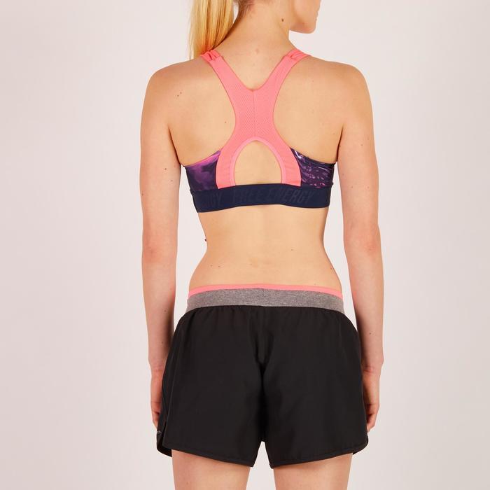 Brassière fitness cardio femme rose détails tropicaux 500 Domyos