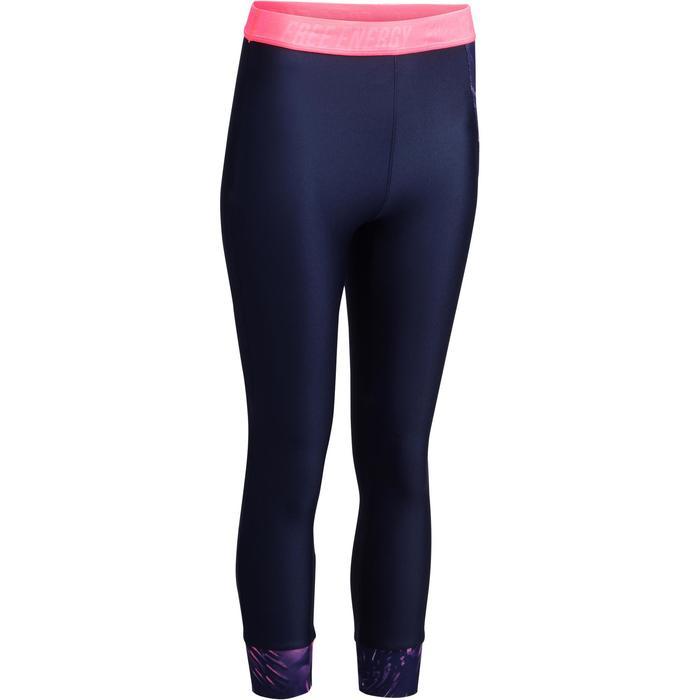 Legging 7/8 fitness cardio femme bleu marine détails tropicaux 500 Domyos - 1272606