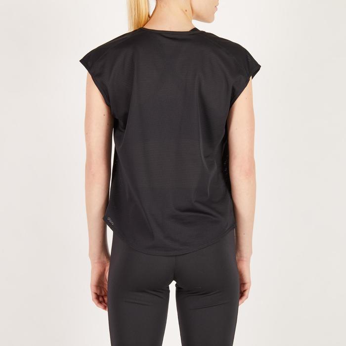 T-shirt loose fitness cardio femme noir avec imprimés 120 Domyos
