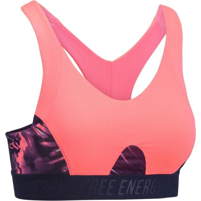 Brassière fitness cardio femme à imprimés tropicaux roses 500 Domyos - 1272609