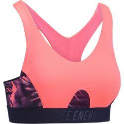Brassière fitness cardio femme à imprimés tropicaux roses 500 Domyos