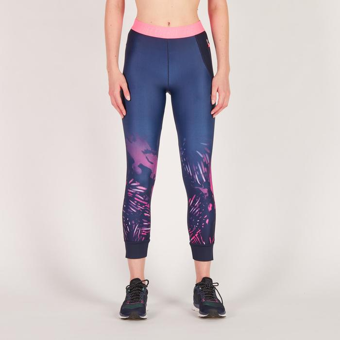 Legging 7/8 fitness cardio femme bleu marine détails tropicaux 500 Domyos - 1272610