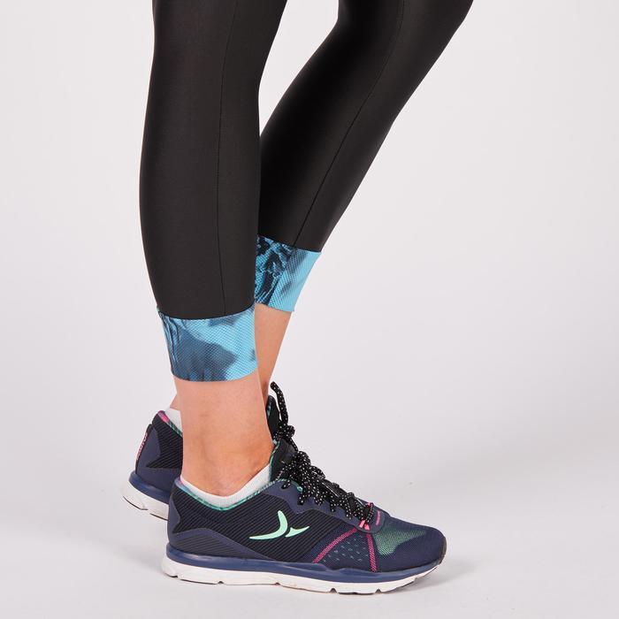 Leggings 7/8 fitness-cardio mujer, negros con detalles tropicales, 500 Domyos