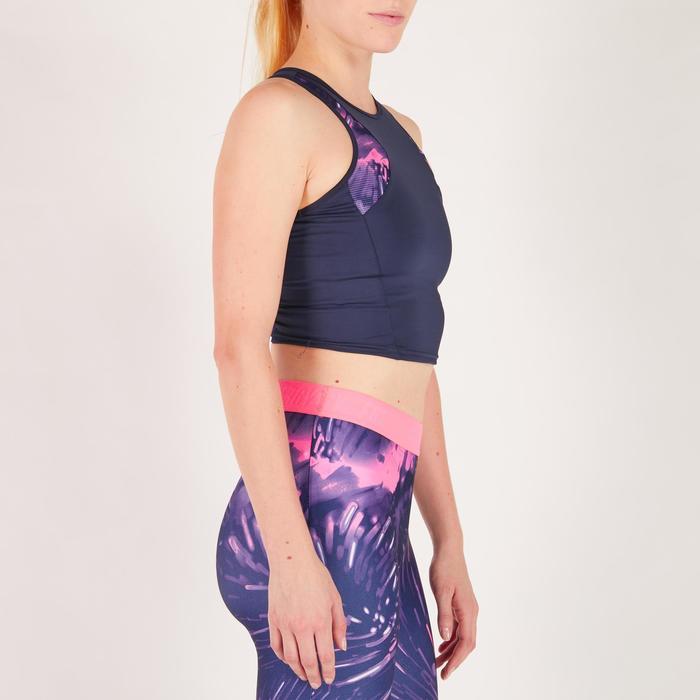 Cropped top fitness cardio femme bleu marine 500 Domyos - 1272622