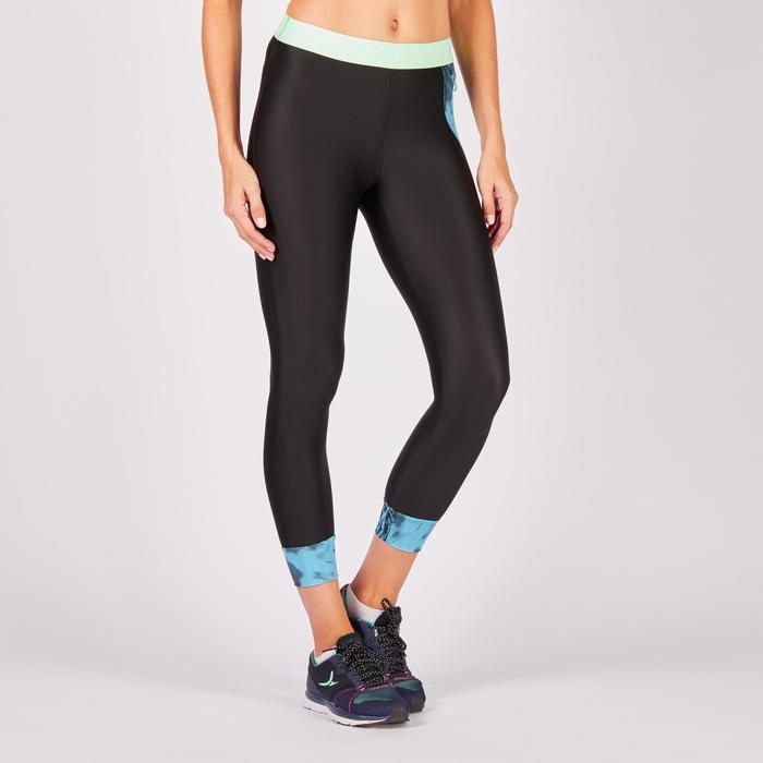 7/8-Leggings 500 Fitness Cardio Damen schwarz mit Tropical-Print