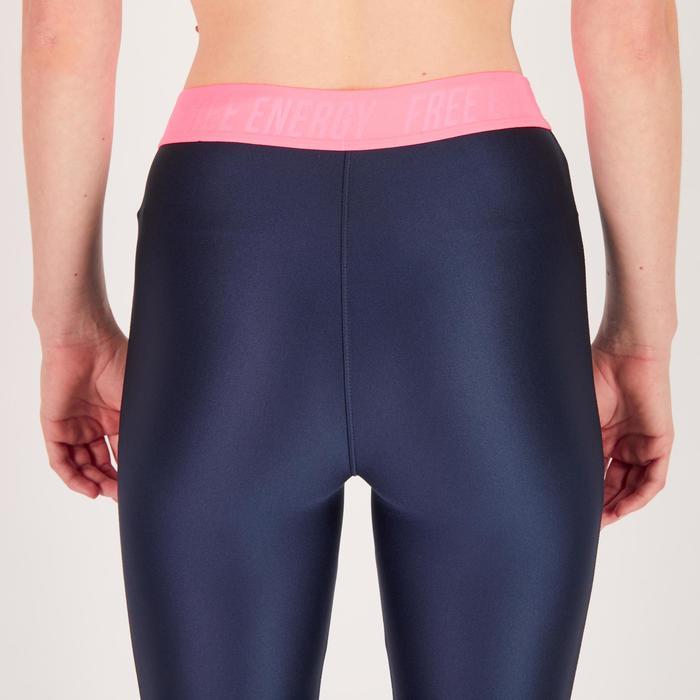 Legging 7/8 fitness cardio femme bleu marine détails tropicaux 500 Domyos - 1272634