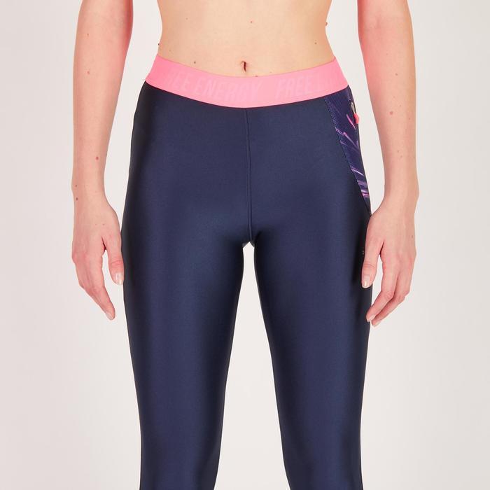 Legging 7/8 fitness cardio femme bleu marine détails tropicaux 500 Domyos - 1272649
