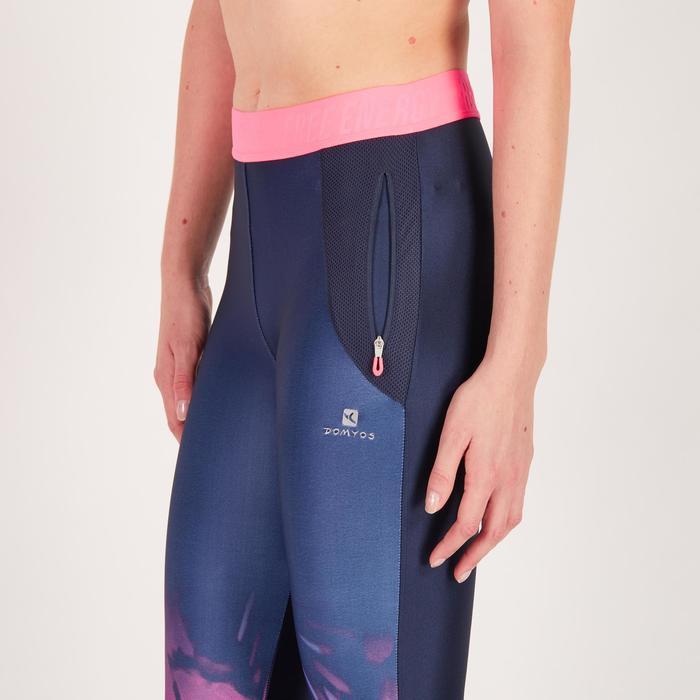 Legging 7/8 fitness cardio femme bleu marine détails tropicaux 500 Domyos - 1272651