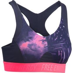 500 女性有氧健身運動內衣 - 粉紅熱帶印花