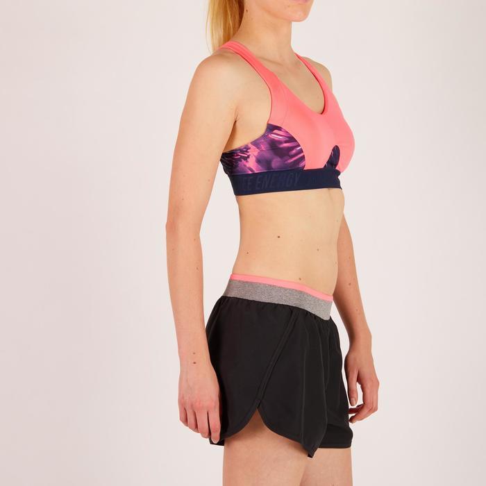 Brassière fitness cardio femme à imprimés tropicaux roses 500 Domyos - 1272661