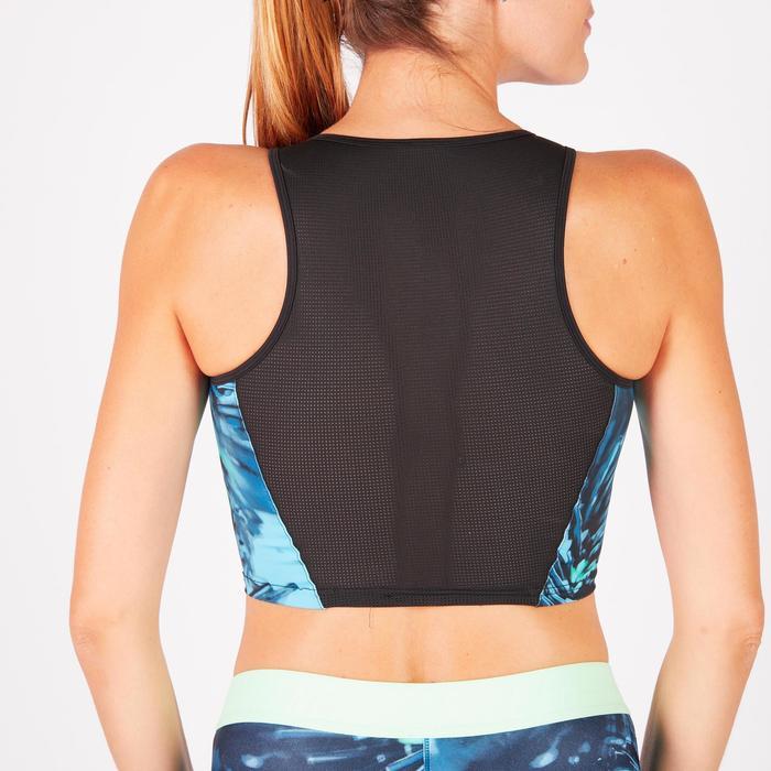 Cropped top fitness cardio femme bleu marine 500 Domyos - 1272668