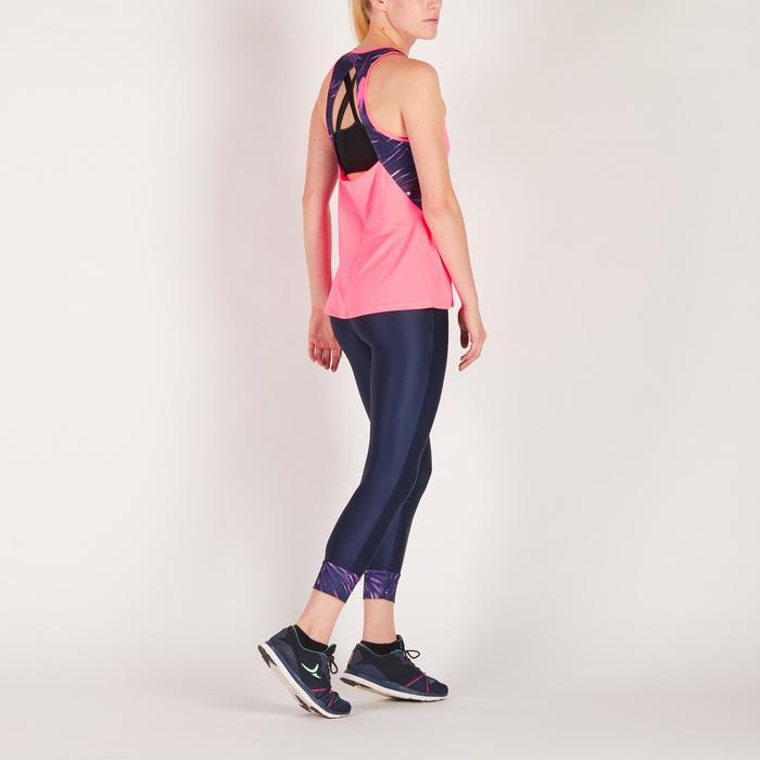 Legging 7/8 fitness cardio femme bleu marine détails tropicaux 500 Domyos
