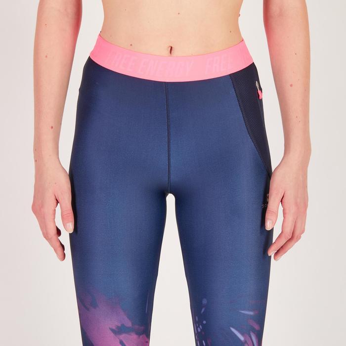 Leggings 7/8 fitness cardio mujer azul con estampados tropicales rosa 500 Domyos