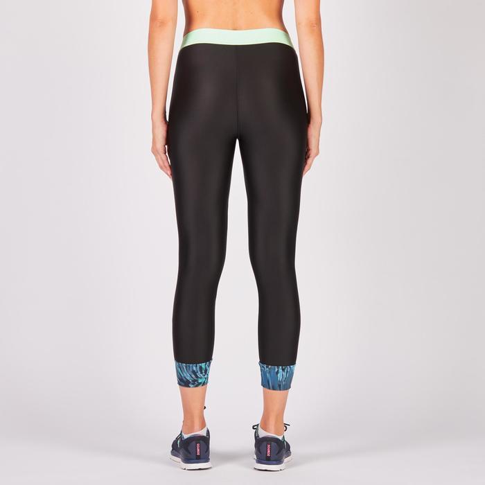 Legging 7/8 fitness cardio femme bleu marine détails tropicaux 500 Domyos - 1272690