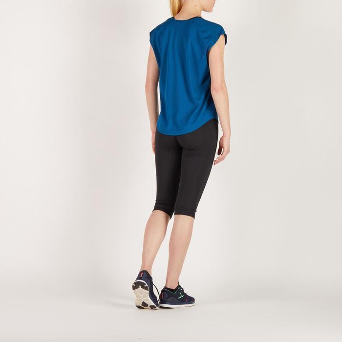 Cardiofitness T-shirt 120 voor dames, loose fit, blauw met print Domyos