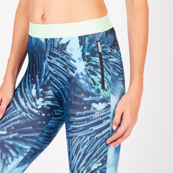 Legging 7/8 fitness cardio femme bleu marine détails tropicaux 500 Domyos - 1272698