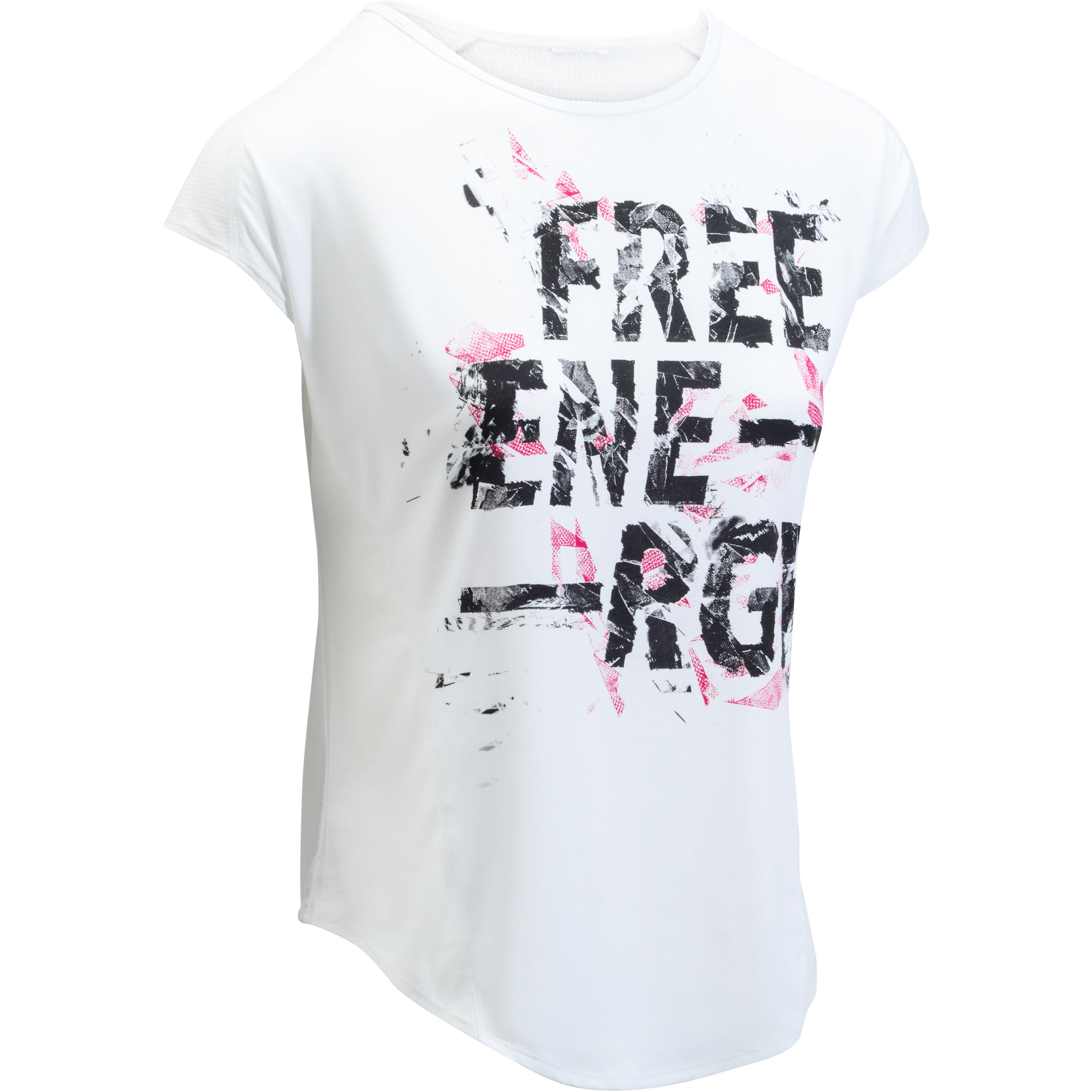 120 Women's Loose-Fit Cardio Fitness T-Shirt - White Print