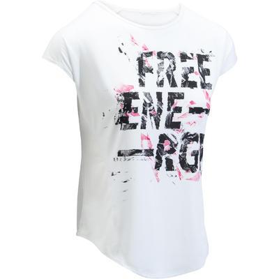 9f27cab7d66ff Décathlon. T-shirt loose fitness cardio femme blanc avec imprimés 120 Domyos