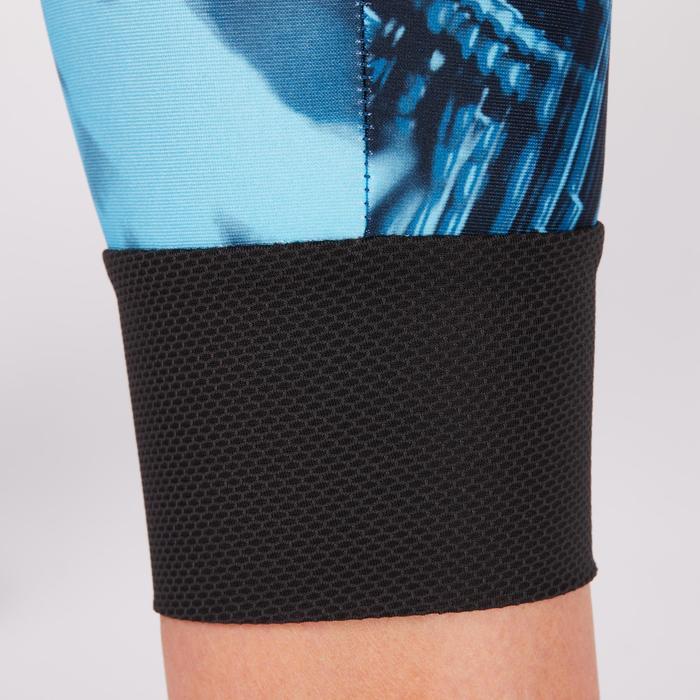 Legging 7/8 fitness cardio femme bleu marine détails tropicaux 500 Domyos - 1272706