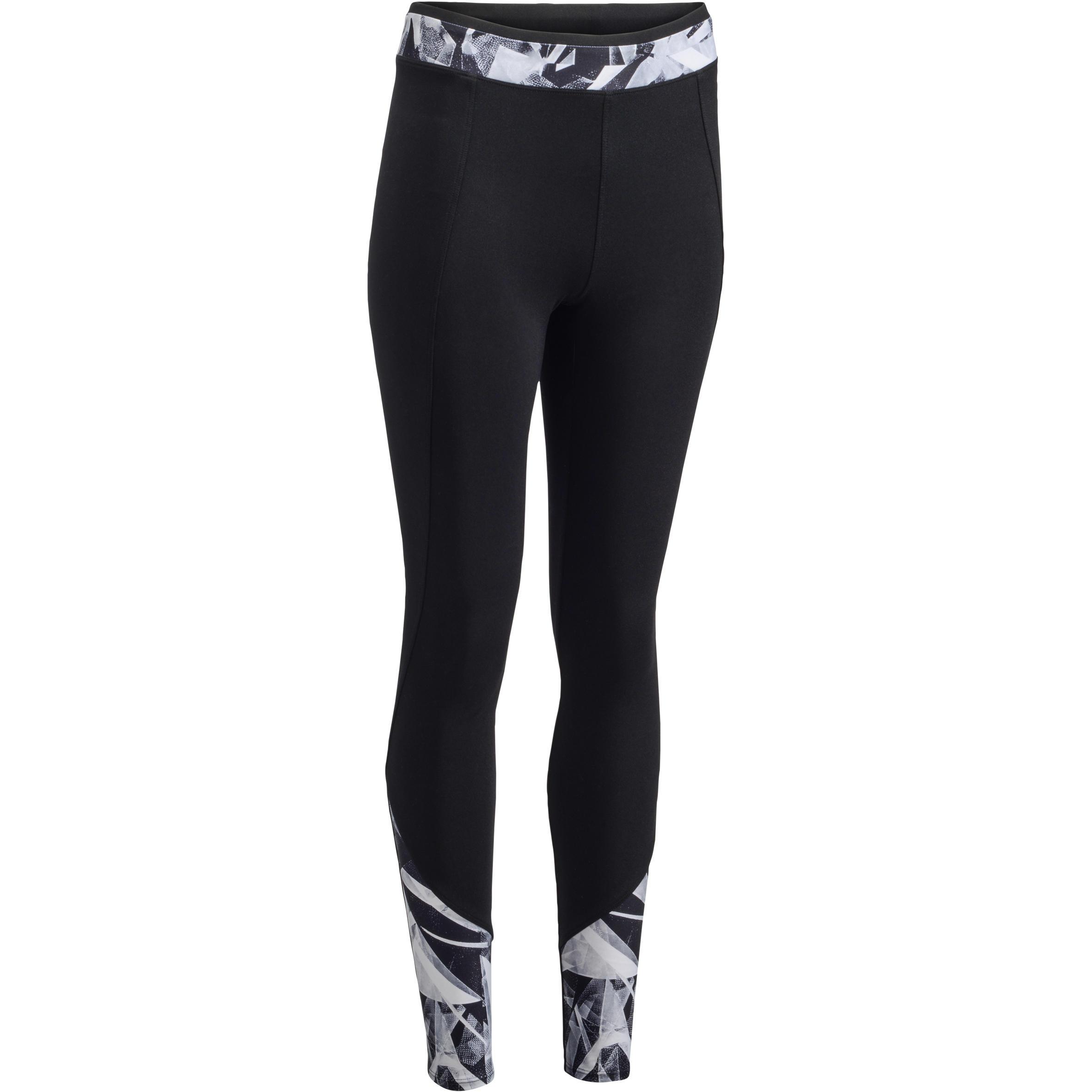 Leggings fitness cardio mujer bicolor negro y estampados geométricos 100 Domyos