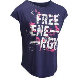 Cardiofitness T-shirt 120 voor dames, loose fit, marineblauw met print Domyos