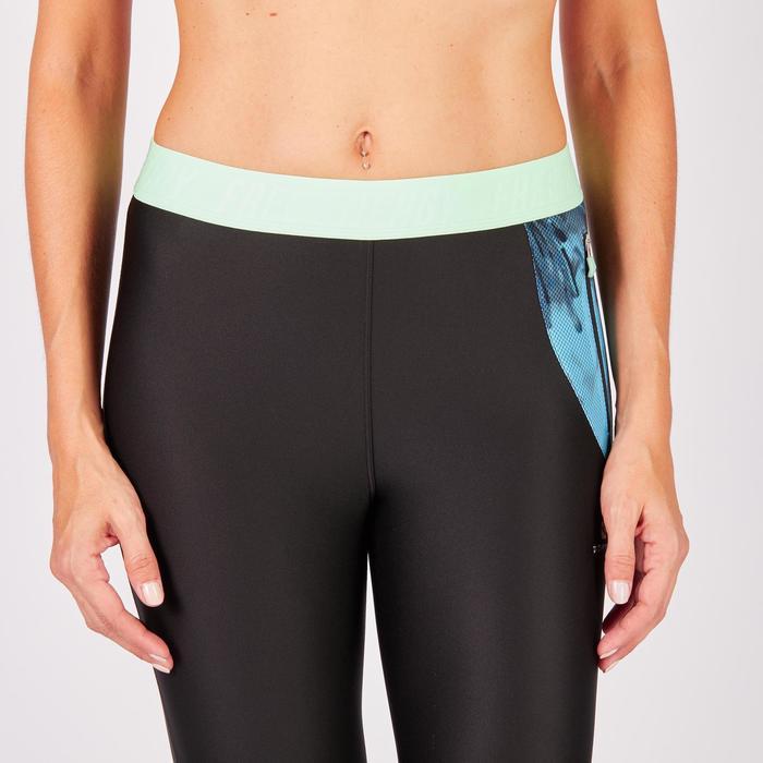 Legging 7/8 fitness cardio femme bleu marine détails tropicaux 500 Domyos - 1272712