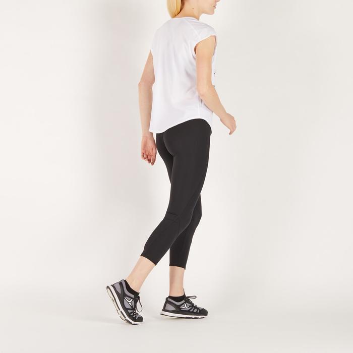 Cardiofitness T-shirt 120 voor dames, loose fit, wit met print Domyos