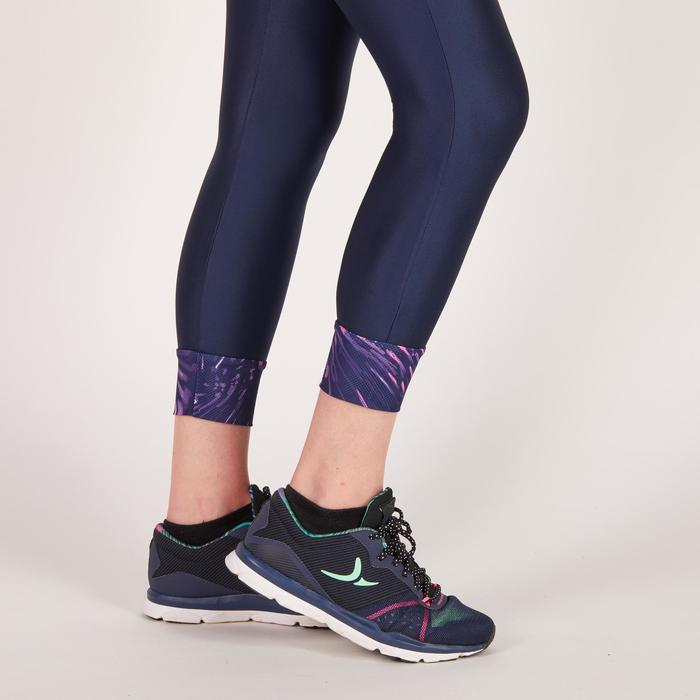 Legging 7/8 fitness cardio femme bleu marine détails tropicaux 500 Domyos - 1272714
