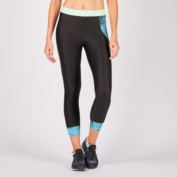 Legging 7/8 fitness cardio femme bleu marine détails tropicaux 500 Domyos - 1272715