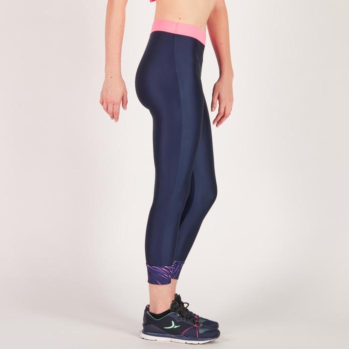 Legging 7/8 fitness cardio femme bleu marine détails tropicaux 500 Domyos - 1272721