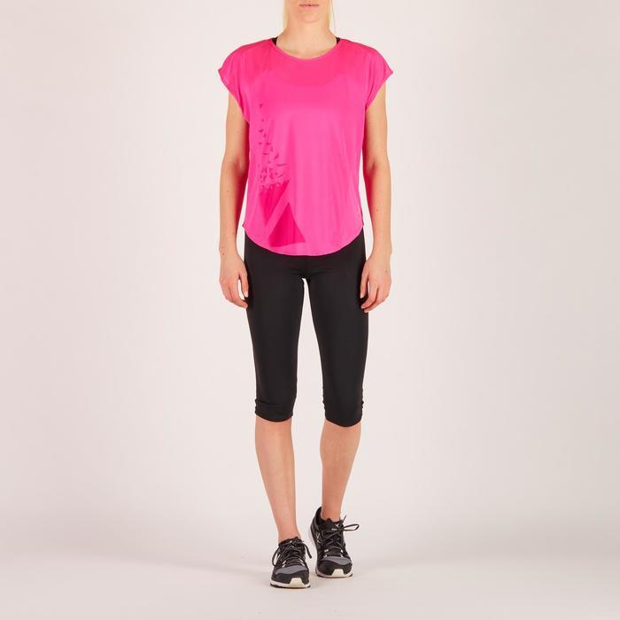 Camiseta amplia fitness cardio mujer rosa con estampados 120 Domyos