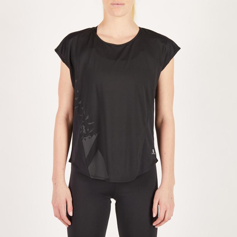 Dámské tričko na fitness 120 loose černé s potiskem  b273e78554