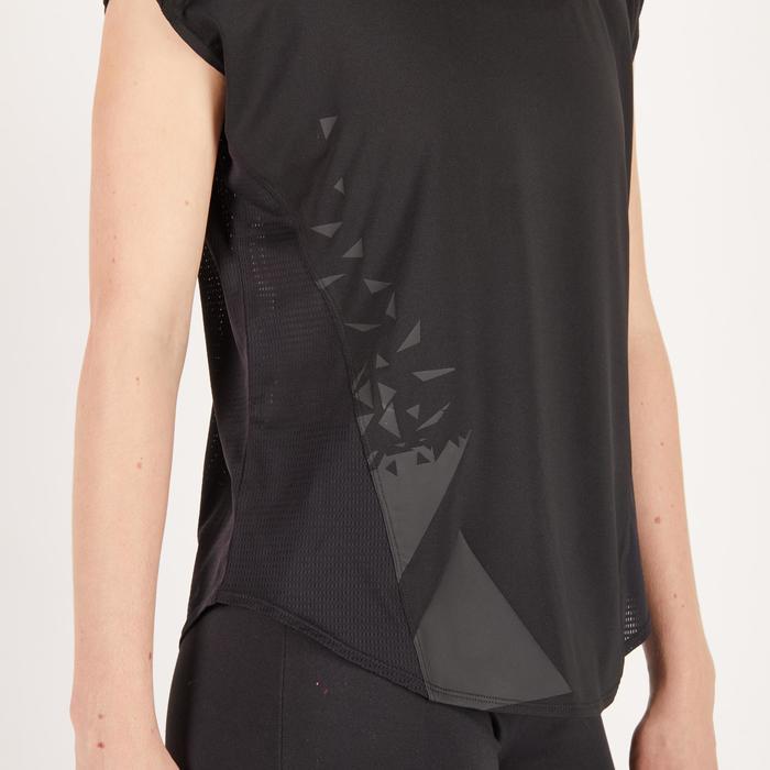 Cardiofitness T-shirt 120 voor dames, loose fit, zwart met print Domyos