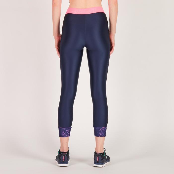 Legging 7/8 fitness cardio femme bleu marine détails tropicaux 500 Domyos - 1272735