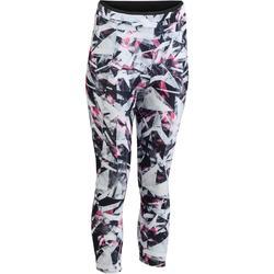 100 Women's Cardio Fitness 7/8 Leggings - White/Pink Geometric Print