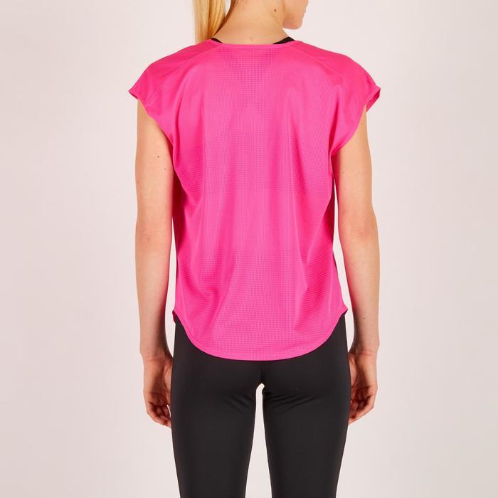 T-shirt loose fitness cardio femme rose avec imprimés 120 Domyos
