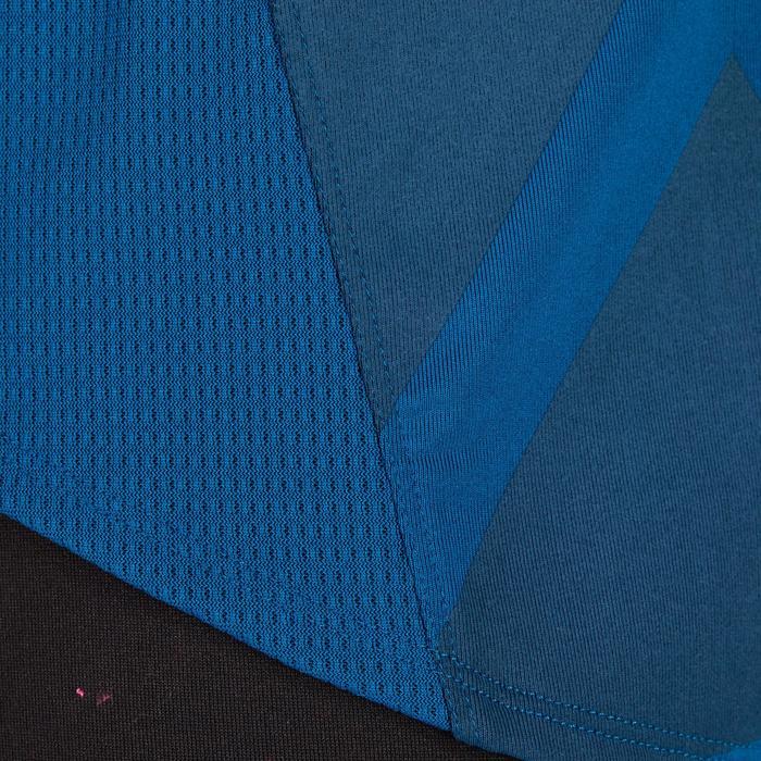 Camiseta amplia fitness cardio mujer azul con estampados 120 Domyos