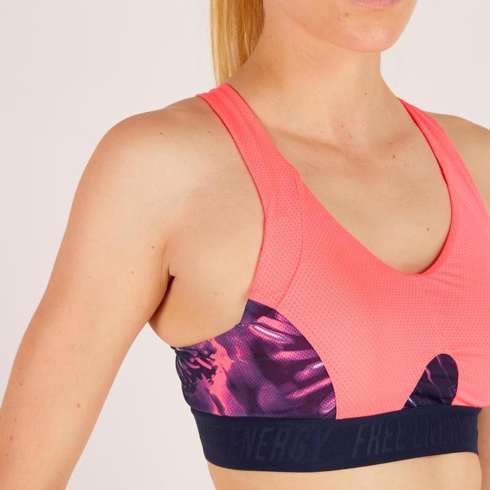 Brassière fitness cardio femme à imprimés tropicaux roses 500 Domyos - 1272754