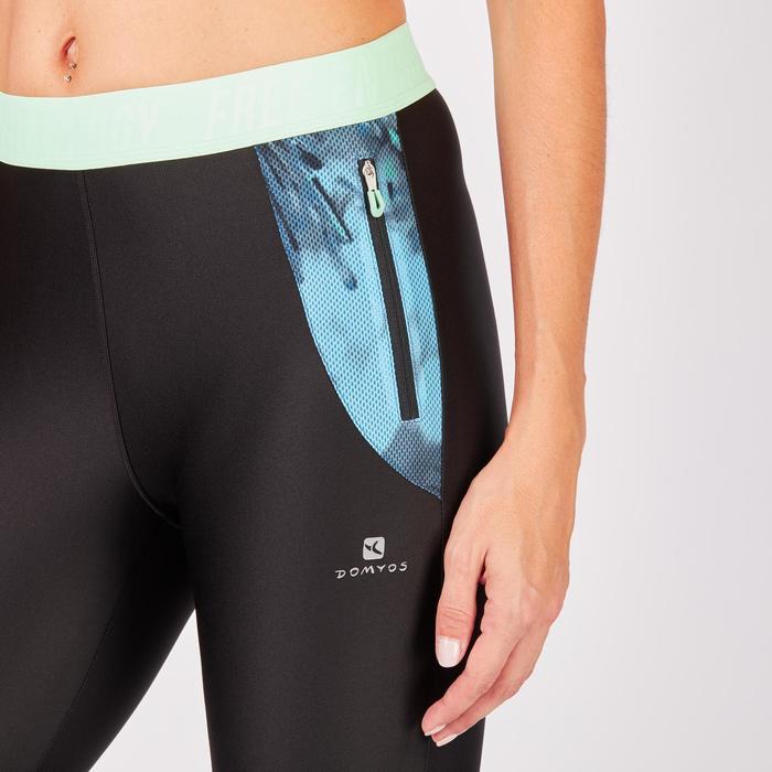 Legging 7/8 fitness cardio femme bleu marine détails tropicaux 500 Domyos - 1272763