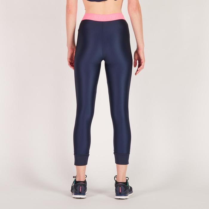 Legging 7/8 fitness cardio femme bleu marine détails tropicaux 500 Domyos - 1272768