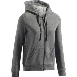 Veste 500 Gym & Pilates femme capuche zippée gris chiné  moucheté