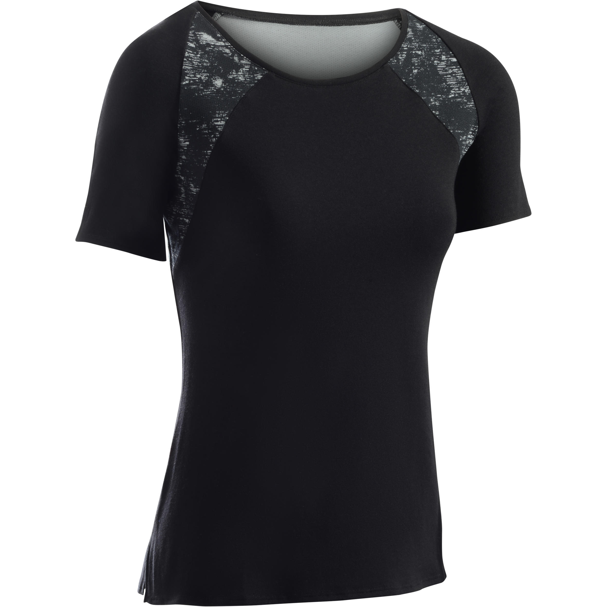 Domyos Dames-T-shirt 520 met korte mouwen voor gym en pilates zwart