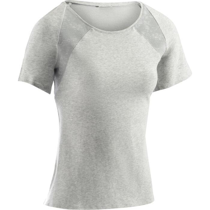 T-Shirt 520 manches courtes Gym & Pilates femme gris chiné clair - 1273089