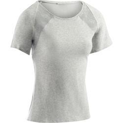 T-Shirt 520 manches courtes Gym & Pilates femme gris chiné clair