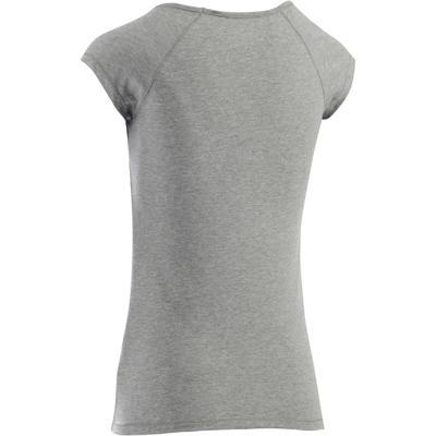 T-Shirt 500 slim Pilates Gym douce femme gris chiné