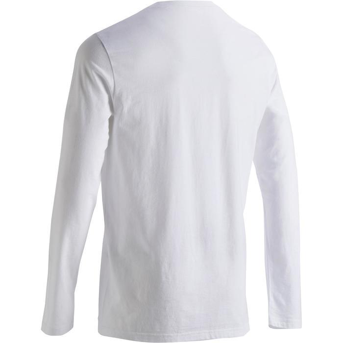 Shirt met lange mouwen voor pilates en lichte gym heren 100 regular fit wit