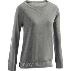 T-Shirt 500 manches longues Gym & Pilates femme gris chiné moyen